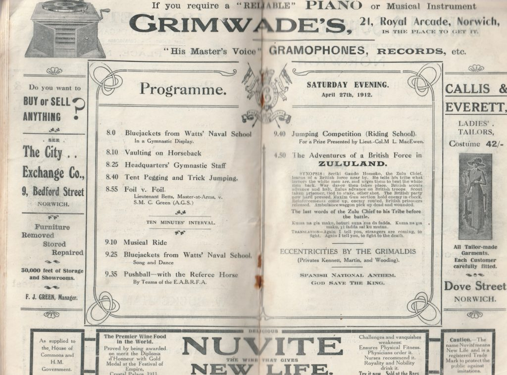 Programme - Saturday evening - April 27th 1912
