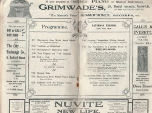 Programme - Saturday evening - April 27th 1912